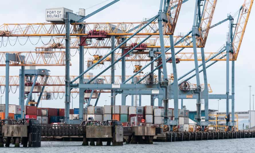 Cranes at a container shipping port in Belfast, Northern Ireland.