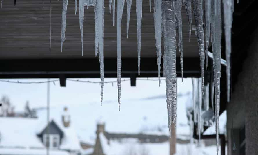 Icicles hang from a roof in Braemar, Scotland.