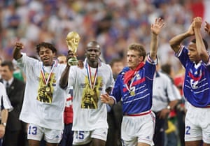 France's Bernard Diomède, Lilian Thuram, Didier Deschamps and Thierry Henry after winning the 1998 World Cup.