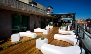 The roof terrace at Silken Hotel