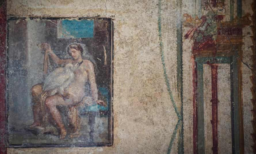 The fresco of Leda and the swan. The image was fairly common in homes in Pompeii and Herculaneum, which were both destroyed when Mount Vesuvius erupted in AD79.