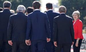 Theresa May with the EU27 leaders at the Salzburg summit