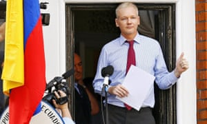 Julian Assange at the Ecuadorian embassy.