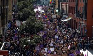 People take part in a rally in Puerta del Sol in Madrid, Spain