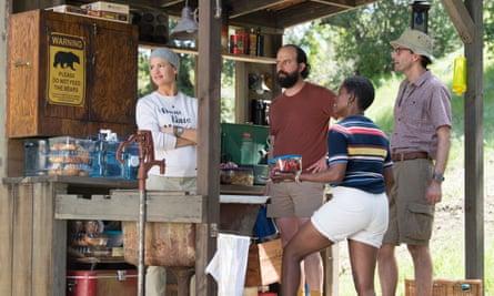 Tent up... Jennifer Garner, Brett Gelman, David Tennant and Janicza Bravo in HBO's Camping.