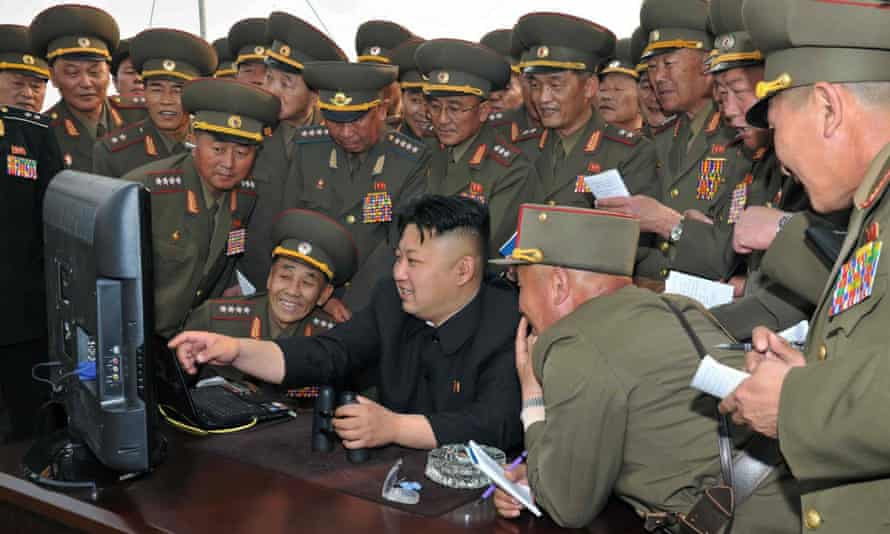 An undated picture released by North Korea's official Korean Central News Agency shows leader Kim Jong-Un looking at a computer during a military drill.