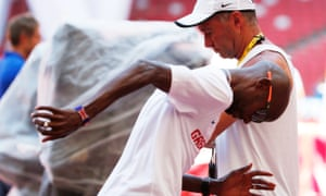Mo Farah and Alberto Salazar at the 2015 World Athletics Championships in Beijing