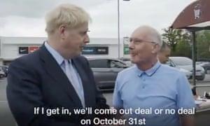 Boris Johnson in his campaign video.
