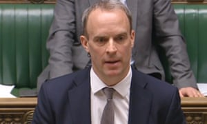 Dominic Raab speaking in the House of Commons in London on Tuesday