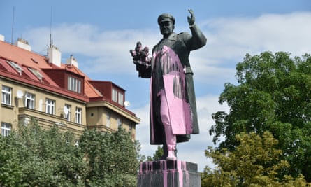 The statue of Soviet Marshal Ivan Konev in Prague, defaced with pink paint.