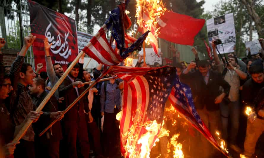 A protest in Tehran against the US withdrawal from the nuclear deal with Iran.