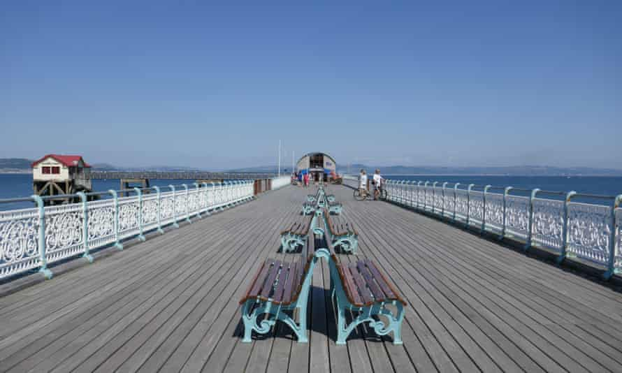 Pier in Mumbles, Wales, on a sunny day. UK.
