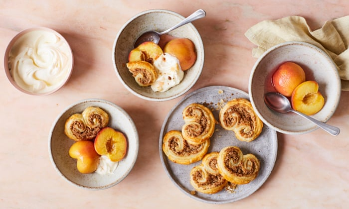 Rukmini Iyer's honey and muscat poached peaches with easy almond pastries