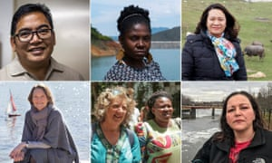 Goldman environment prizewinners 2018: (clockwise from top left) Manny Calonzo, Francia Márquez, Nguy Thi Khanh, LeAnne Walters, Makoma Lekalakala and Liz McDaid, Claire Nouvian.