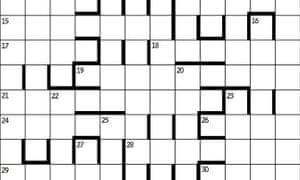 A symmetrical crossword grid