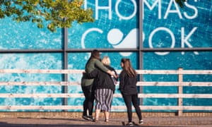 People outside Thomas Cook's Peterborough headquarters.