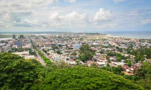 Aerial view of the city of Monrovia, Liberia, taken from the top of the ruins of Hotel Ducor