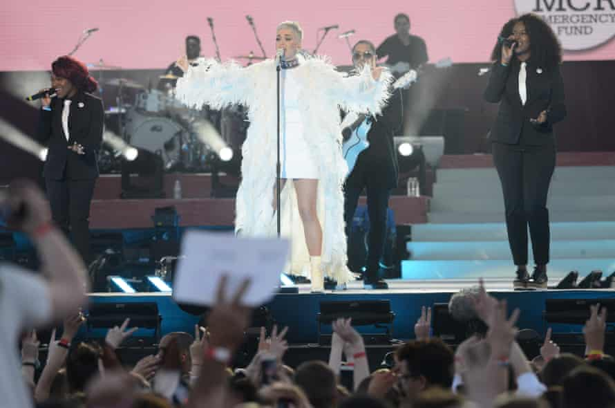 Katy Perry performs on stage on June 4, 2017 in Manchester