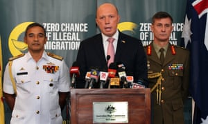 Peter Dutton speaks during a press conference with military commanders in