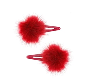 """£6.50,<a href=""""http://www.topshop.com/en/tsuk/product/bags-accessories-1702216/hair-accessories-464/red-fluffy-pom-pom-hair-clips-4997424?bi=20&amp;ps=20""""> topshop.com </a>"""