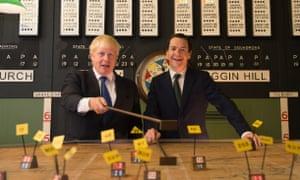 Boris Johnson and George Osborne visit the Battle of Britain Bunker in Uxbridge in September 2015