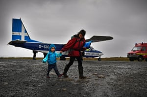 The plane arrives from Tingwall airport, Lerwick