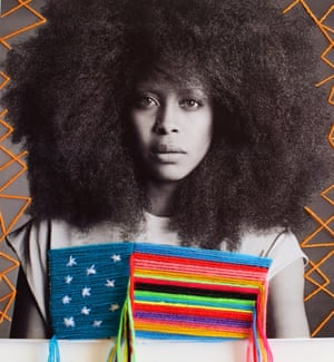 An embroidered photograph of Erykah Badu by Mexican artist Victoria Villasana