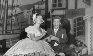 Patricia Stark and Norman Wisdom rehearsing for Robinson Crusoe at the Palace Theatre, Manchester, December 1959.