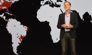 Netflix CEO Reed Hastings and a map showing Netflix's plans to enter Africa.