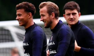 Dele Alli, Harry Kane and Harry Maguire in England training