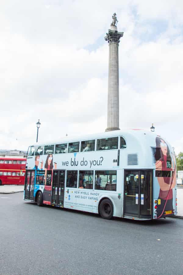 An advert for Blu vapes on a London bus.