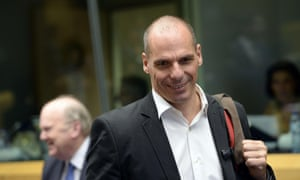 Greece's Finance Minister Yanis Varoufakis at today's eurogroup meeting.