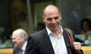 Greece's Finance Minister Yanis Varoufakis at today's eurogroup meeting.