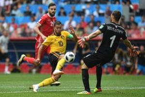 Eden Hazard beats Farouk Ben Mustapha to score the fourth