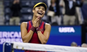 Emma Raducanu shows her delight after reaching the US Open final