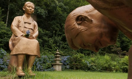 One of the statues symbolising Japanese PM Shinzo Abe and a 'comfort woman'