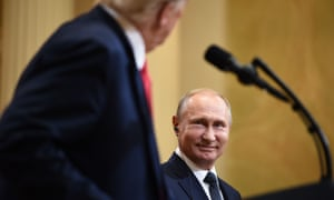 Donald Trump and Vladimir Putin attend a joint press conference in Helsinki.