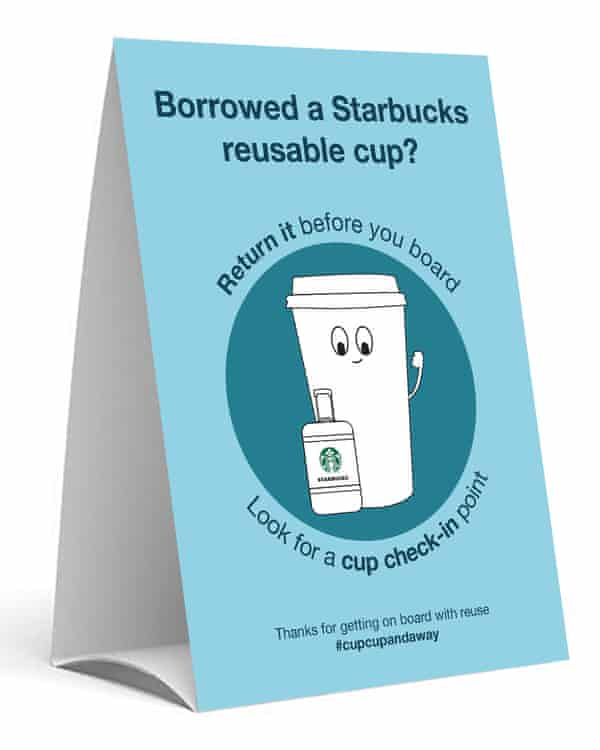 A sign will remind passengers to return their cup before they board a flight