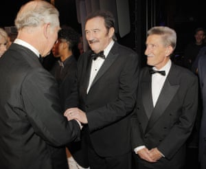 Prince Charles, Paul Chuckle and Barry Chuckle at the Royal Variety Performance, Hammersmith Apollo, London, 2016
