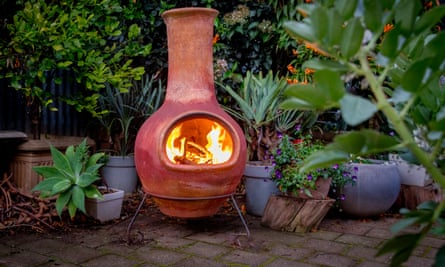 A chiminea in a back garden
