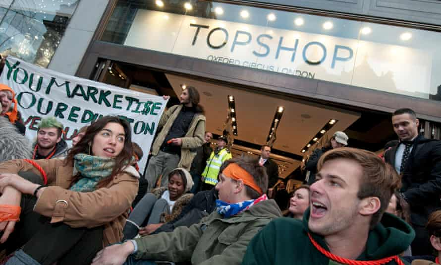 Protesters outside Topshop in 2010.