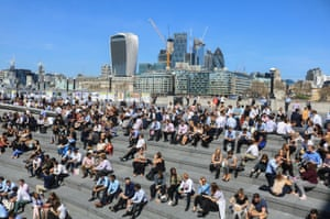 People have lunch in east London