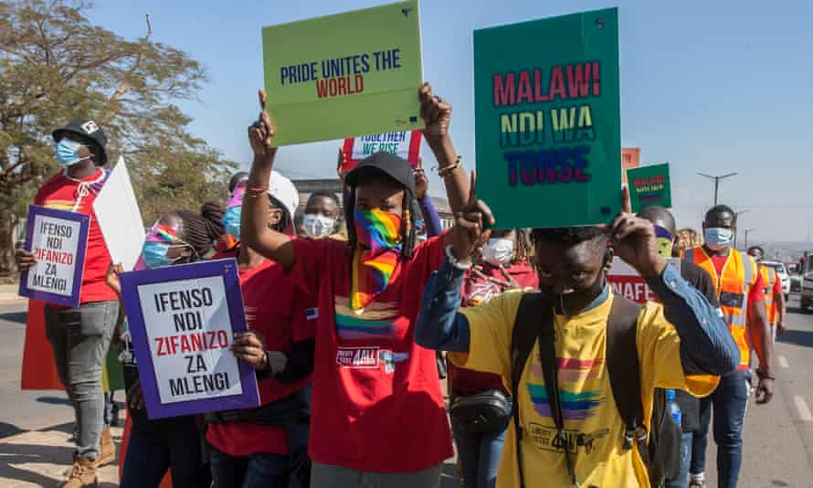 People take part in Malawi's first Pride parade in the capital Lilongwe.