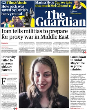 Guardian front page, Friday 17 May 2019