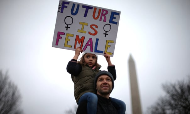 Six-year-old Norah Quasha with her father Khalil in Washington after the inauguration of Donald Trump in 2017