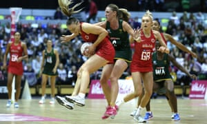 England's Jade Clarke (left) and South Africa's Erin Burger battle for the ball during South Africa's victory at the Copper Box in London.