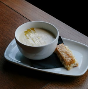 Jerusalem artichoke soup with a Quicke's cheddar toastie: 'A work of decadent majesty'.