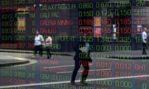 Digital market boards at the Australian Stock Exchange