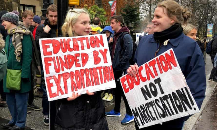 A strike outside Glasgow University in November.
