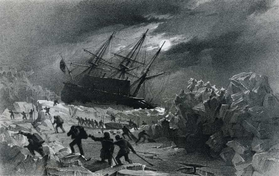 Crew of the HMS Terror, stuck in the ice and commanded by the British admiral George Back (1796-1878), salvaging lifeboats and provisions east of the Frozen Strait, during the Frozen Strait Expedition, 1836-1837. Yellowknife, Prince Of Wales Northern Heritage Centre.